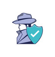 cyber security agent with shield vector image vector image
