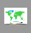 drawing world map on white paper vector image vector image