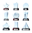 glass winner awards crystal sport trophy prizes vector image