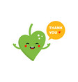 green leaf character saying thank you vector image vector image
