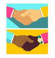 handshake flat design icon vector image