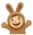 happy child in costume rabbit bunny hare cartoon vector image vector image