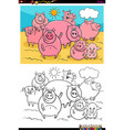 happy pigs animal characters group color book vector image vector image