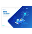isometric drone fast delivery goods in city vector image vector image