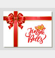 jingle bells christmas greeting card with bow vector image vector image