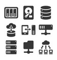 networking file share and nas server icons set vector image vector image