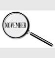 november magnifying glass vector image vector image