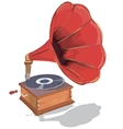 Old gramophone First music on vinyl vector image