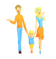 parents taking a walk with son holding hands vector image vector image