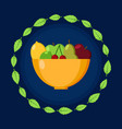 plate with fruits frame of leaves flat icon vector image