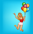 pop art woman balloons with sale vector image