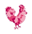 Rooster silhouette with pink camo or camouflage vector image