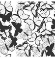 seamless pattern with silhouette butterflies vector image vector image