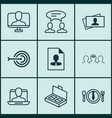 set of 9 business management icons includes