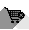 shopping cart with delete sign black icon vector image vector image