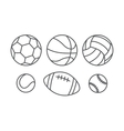 Sports balls in linear style vector image vector image