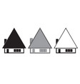 three houses set - black silhouette vector image vector image