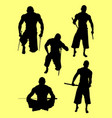 traditional martial art silhouettes vector image
