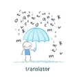 translator is faced with an umbrella from the rain vector image vector image