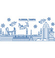 usa florida tampa winter city skyline merry vector image vector image