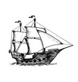 vintage sailing ship engraving vector image