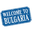 welcome to bulgaria blue square grunge stamp vector image vector image