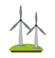 wind turbines green energy vector image vector image