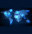 World map with background of blue graphic vector image vector image
