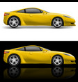 yellow sport car icon on white and black vector image vector image