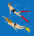 young couple swimming together in tropical sea vector image vector image
