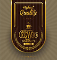 Brown background with coffee label vector image