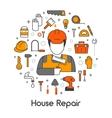 House Repair Renovation Line Art Thin Icons Set vector image