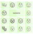 14 sadness icons vector image vector image