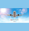 3d airplane take off flying above clouds vector image vector image