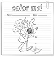 A worksheet with a girl carrying a broken heart vector image vector image