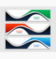 abstract web banners set in wavy shape styles vector image vector image