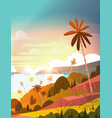 amazing sunset on seaside tropical landscape vector image