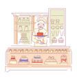 baker in bakery shop confectionery cakes and vector image