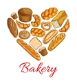 Bakery bread poster in heart shape vector image vector image