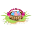 Basket with colored eggs is standing on green vector image vector image