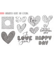 big set valentines day hand written lettering vector image vector image