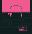 black friday shopping bag sale on pink background vector image vector image