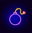 bomb neon sign vector image vector image