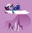 businesswoman sit on top of airplane to travel vector image