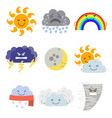 cartoon characters weather forecast set vector image