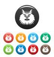 Cat head icons set color