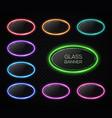 colorful oval neon lights banner design set vector image