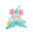 cute mouse in a nightcap lying in bed funny vector image vector image