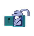 cyber security agent in padlock vector image vector image