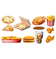 different types of fastfood and drink vector image vector image